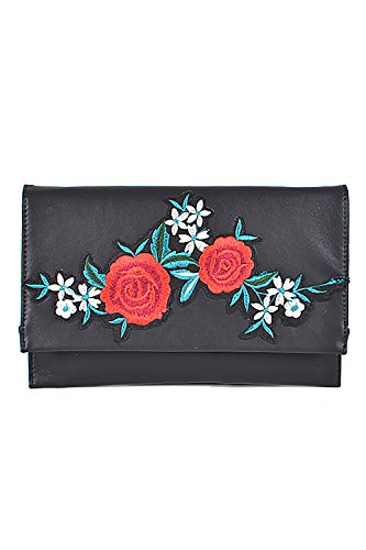 Patches Women Classy Bags Design Clutch Black Fashion Flower PPC5 Ppc5605 BEq76xrE