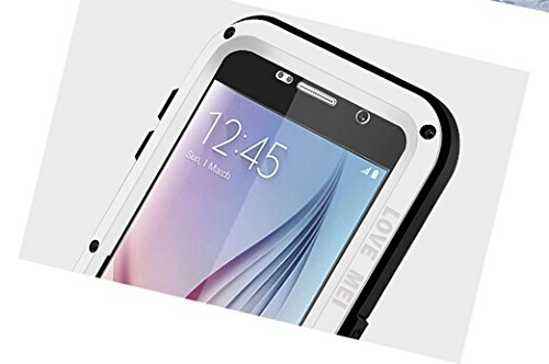 Samsung Galaxy S6 Case, Love Mei Shockproof Waterproof Dust/dirt/snow Proof Aluminum Metal Gorilla Glass Protection Case Cover for Samsung Galaxy S6 (White)
