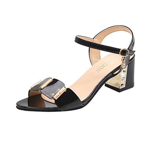 Toe Haut Chaussures 43 Cheville 36 2018 Sandales Bouche Noir Talon Mesdames Filles Femmes Poisson blanc Bloc Noir Carré Sonnena Party Open w0nqPg