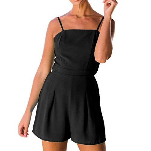 Veodhekai Womens Jumpsuit Strap Bandage Leisure Solid Color Short Jumpsuit Sling Cute Sweet Holiday Jumpsuit Black