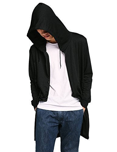 Coofandy Men's Halloween Costume Loose Button Hoodies Hooded Sweatshirt, Black, (Mens Halloween Costumes Ideas)