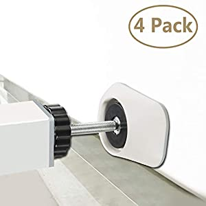 Baby Gates Wall Pads (4 Pack Guard) Safety Indoor Gate Wall Protector – Improved Small Compact Wall Cups Saves Trim & Paint – Best Dog Pet Child Kid Walk Through Pressure Mounted Gates Guard