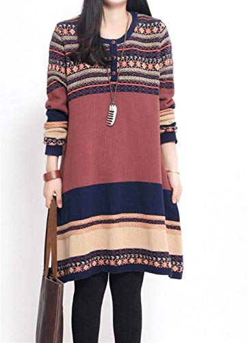 Style Maille Robe Line Robe Fille Manches Femme Elgante A Hiver Ethnique Casual Col Automne Vintage Mode Vtements Robe Chemisier Robe en Longues Ziegelrot Rond zdnRTqxn