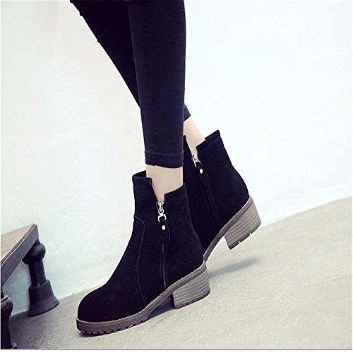HXVU56546 Winter Verdickte Warme Schuhe Dame Schuhe Rutschfeste Samt Plus Pedal Home Schuhe, 35, Schwarz black
