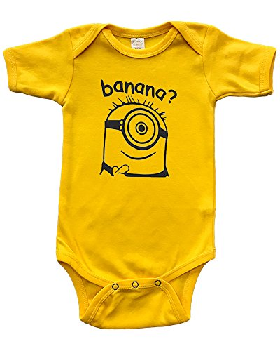 PandoraTees Short Sleeve Onesie w/Minion Inspired - Banana?, Yellow, 0-3m -