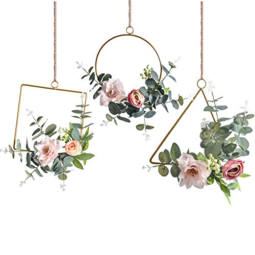 Pauwer Floral Hoop Wreath Set of 3 Artificial Flower Hanging Wall Hoop Wall Decor (Clematis with Tea Rose)