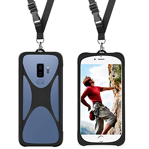 Cell Phone Shockproof Case with Neck Lanyard Holder for iPhone X 8 7 6 Galaxy S9 S8 S7 Moto LG & More