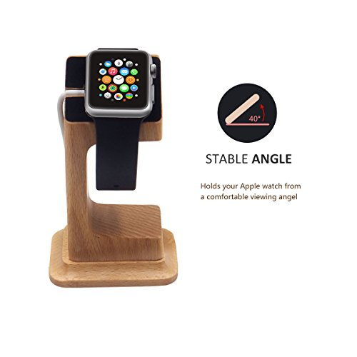 Apple Watch Dock, Blue Hole Stable Elevated Base Wood Apple Watch Charging Stand Dock Station, Support Apple Watch Series 3, Series 2, Series 1 (38 mm & 42 mm) by Blue Hole (Image #1)