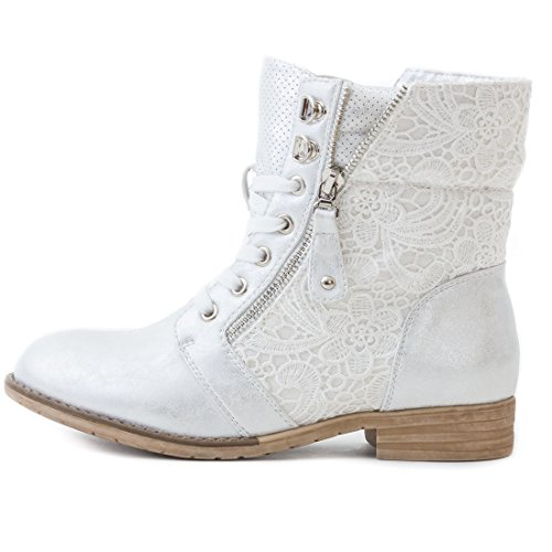 Biker Boots Womens Lace Leather Boots Silber SB QvnLx0