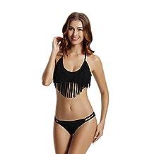 Zeraca Women's Fringe Halter Top Low Rise Bottom Bikini Bathing suits