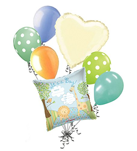 7 pc It's a Boy Jungle Animals Balloon Bouquet Baby Shower Safari Welcome Home -