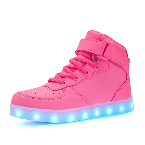 Voovix Kids LED Light Up Shoes USB Charging Flashing High-top Sneakers for Boys and Girls Child Unisex(Pink,US3/CN35)