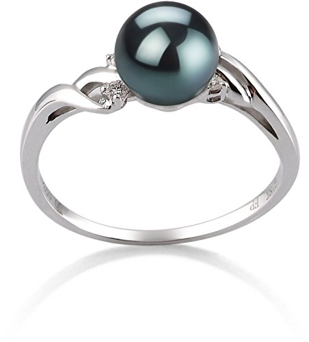 Andrea Black 6-7mm AAA Quality Japanese Akoya 14K White Gold Cultured Pearl Ring - ()
