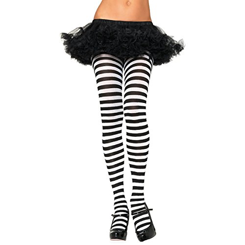 Nylon Striped Tights Hosiery - One (Pink And Blue Striped Tights)