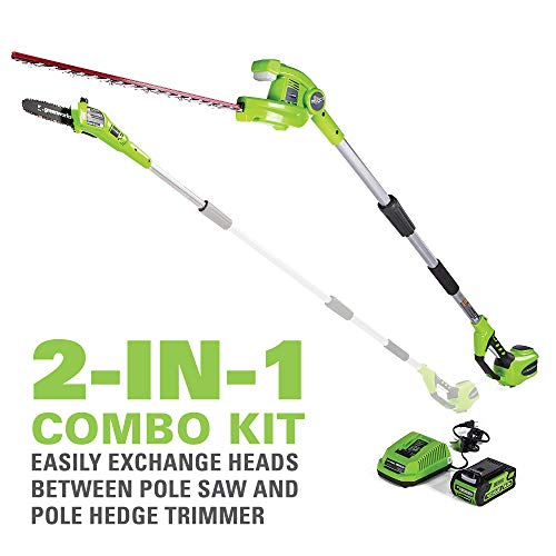 Greenworks 8 Inch 40V Cordless Pole Saw with Hedge Trimmer
