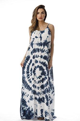 Riviera Sun 21619-NW-M Summer Dresses Maxi Dress Sundresses for Women Navy White