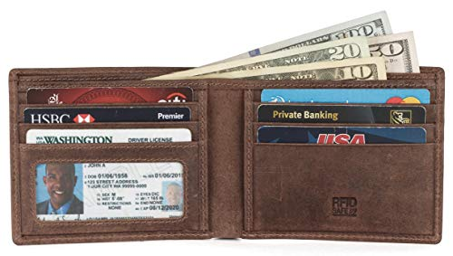 RFID Leather BiFold Wallet For Men With 1 ID Window 5 Credit Card Slots comes in a Gift Box ()