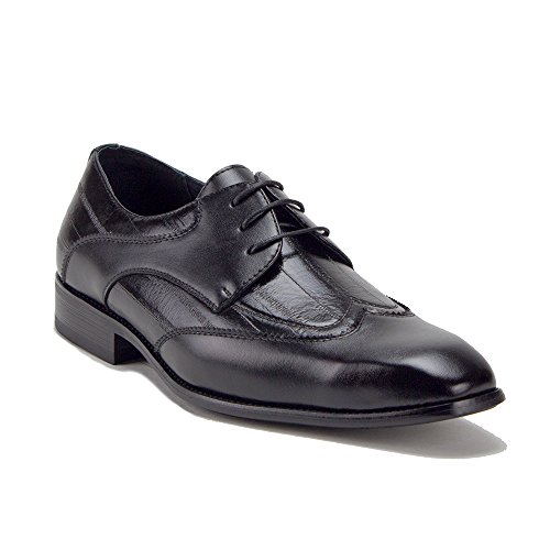 Mens 19130 Wing Tip Gessato Lace Up Oxford Dress Shoes Nero