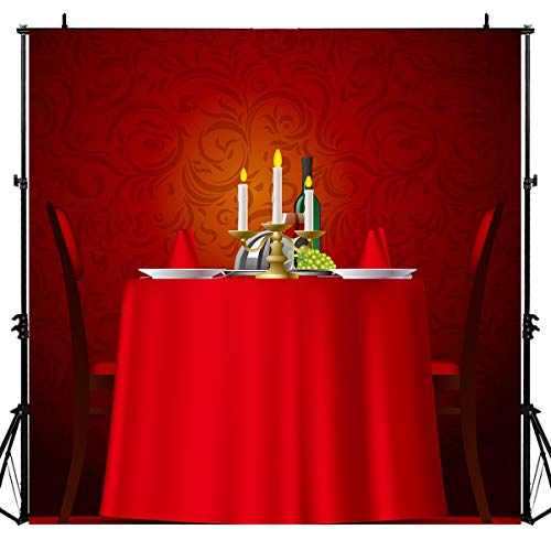 Dinner Desk Candle French Romantic Scene Photography Backdrop for Party, 6x6FT, Restaurant Steak House Background, Photo Booth Studio Props LYLU610