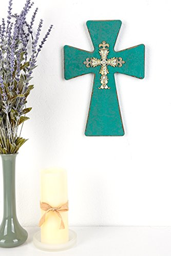 Mardel Pearls and Gems Wooden Wall Cross, Turquoise, 9 x 12 3/4 inches White Pearl Cross