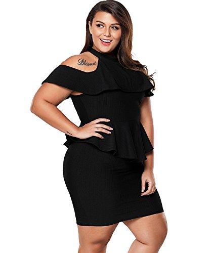 Lalagen Women\'s Plus Size Cold Shoulder Peplum Dress Bodycon Party Dress
