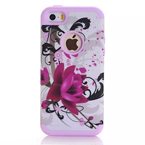 iPhone SE / iPhone 5S 5 Case, DRUnKQUEEn [Shockproof] Dual-layer Hybrid Lotus Flower Protective Case Cover for iPhoneSE iPhone5S - Pink