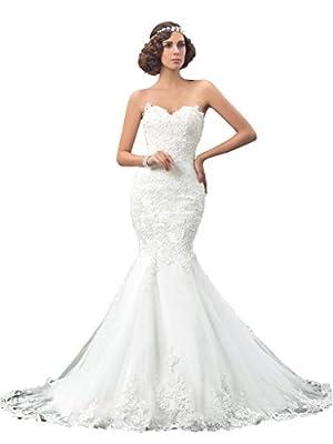 Bridess Women's Sweetheart Tulle Mermaid Wedding Dress for Bride