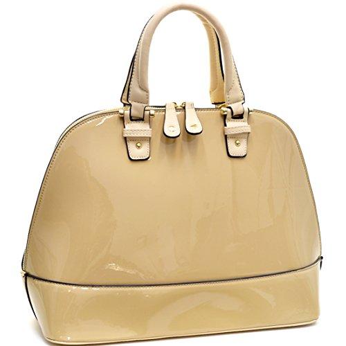 Dasein Patent Leather Handbag Domed Satchel Bag Rhinstone Structured Shoulder Bag Designer Purse