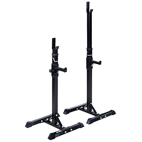 MyEasyShopping Pair of Adjustable Standard Solid Steel Barbell Rack Barbell Steel Rack Pair Standard Solid Adjustable Squat Bench Stands Gym by MyEasyShopping