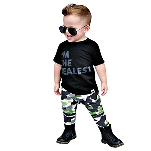 Vinjeely Toddler Baby Boys Short Sleeve Letter T-Shirt +Camouflage Pants Outfits Set 0-3 Years Old