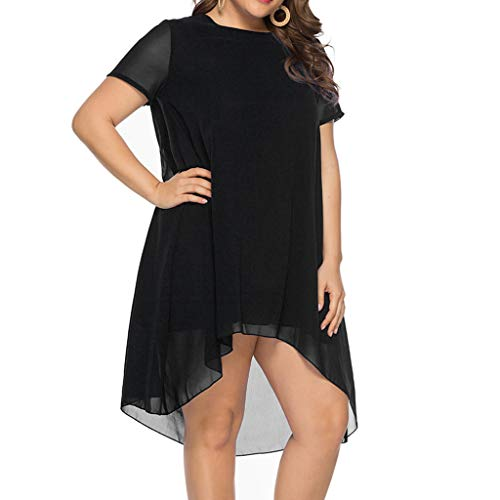 ♡QueenBB♡ Women's Casual Loose T-Shirt Midi Tunic Swing Dress Crew-Neck Short Sleeve Swing Irregular Hem Dress Black -