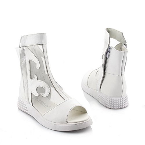AmoonyFashion Womens Open Peep Toe Low Heel Cow Leather Soft Material Solid Sandals with Zipper White dM8WJUr