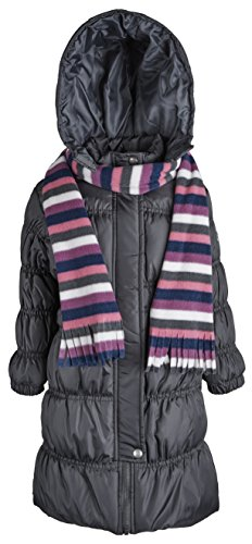 Sportoli Girls Hooded Warm Winter Long Puffer Bubble Coat with Matching Scarf - Charcoal (Size 14/16)