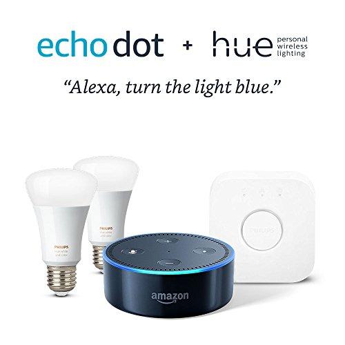 Echo Dot Philips Hue Smart Bulb Kit Black
