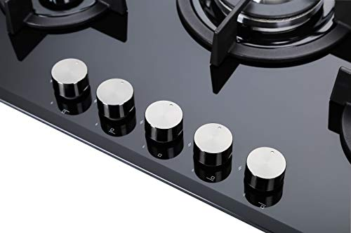 281cdda4d7fed5 Millar GH7051PB Plaques de cuisson en Verre trempé avec 5 brûleurs à gaz  Noir 70 cm Table de Cuisson  Amazon.fr  Gros électroménager