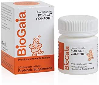BioGaia ProTectis Chewable Tablets for Toddlers, Kids, and Teens Occasional Stomach Pain, Constipation, Diarrhea, and Regularity, 30 Tablets, 2 Pack