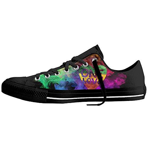 One Love Rasta Heart Unisex Classic Canvas Lace Up Shoes Sneakers For Men & Women by Coallw