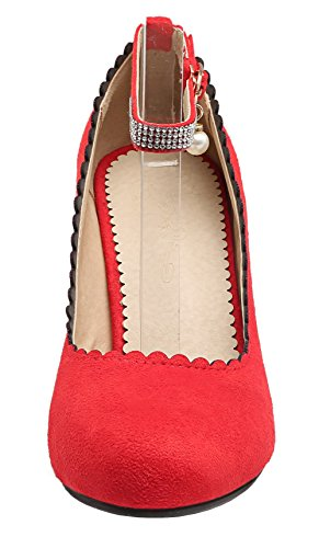 High Shoes Toe AllhqFashion Heels Pumps Women's Round Buckle Closed Red Solid Frosted 4qvvHUIOc