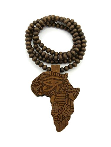 Shiny Jewelers USA Mens Africa MAP Wood Horus Eye African Continent Egyptian Symbol Wooden Bead Chain Necklace (Brown)
