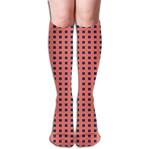 Coral U0026 Midnight Blue Basketweave Compression Socks Adult Knee High Sock Gym Outdoor Socks 50cm 19.7inch ()