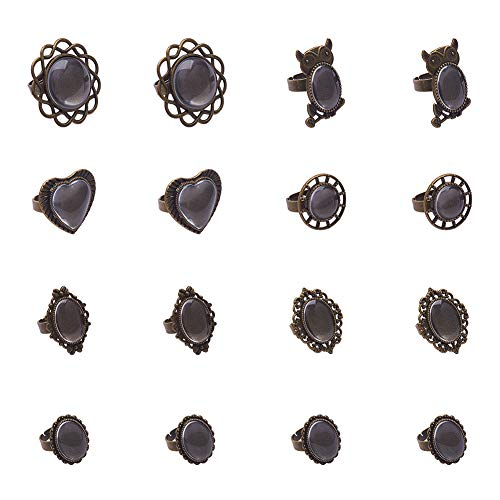 PH PandaHall 28pcs 7 Styles Finger Ring Cabochon Bezel Settings and 28pcs Clear Glass Dome Cabochons for DIY Ring Making, Antique Bronze