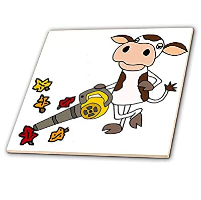 3dRose All Smiles Art - Funny - Cute Funny Unique Cow Using Leaf Blower Cartoon - Tiles