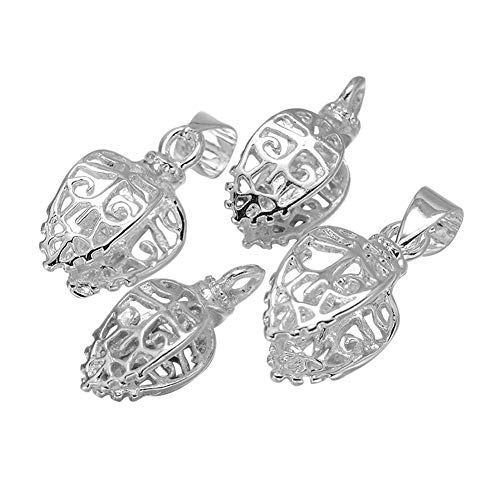 PandaHall About 50 Pieces Brass Filigree Pinch Clip Bail Clasp Dangle Charm Bead Pendant Connector Findings 20x8x9mm for Jewelry Making Silver