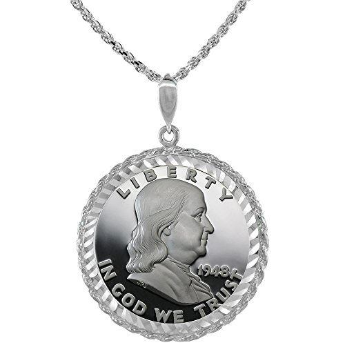 Sterling Silver Half Dollar Rope Bezel 30 mm Coins Prong Back Diamond Cut for All 50 Cent Coins
