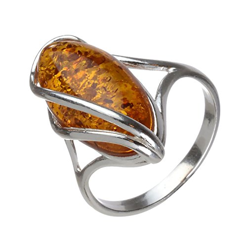 HolidayGiftShops Sterling Silver and Baltic Honey Oval Amber Ring Micaela size: 8.5