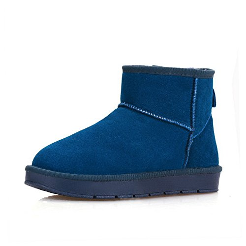 1TO9 Womens No-Closure Boots Solid Blue Leather Boots - 5.5 UK ADZHQQKBW
