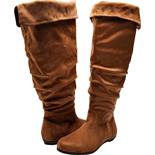 (Luoika Women's Wide Width Knee High Flat Boots - Stretchy Side Zipper Cushioned Lining Suede Winter Boots.(180821,Brown,8.5))