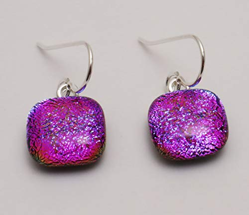 Petite Magenta Purple fused dichroic glass dangle earrings sterling silver ear wires #334 ()