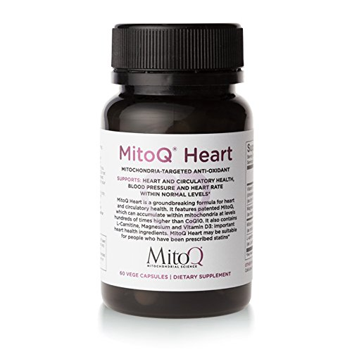 MitoQ Heart 60 Capsules Premium CoQ10 Antioxidant - MitoQ w/Magnesium, L-Carnitine & Vitamin D3 - Supports Circulatory Health, Healthy Blood Pressure Within the Normal Limits and Cellular Health