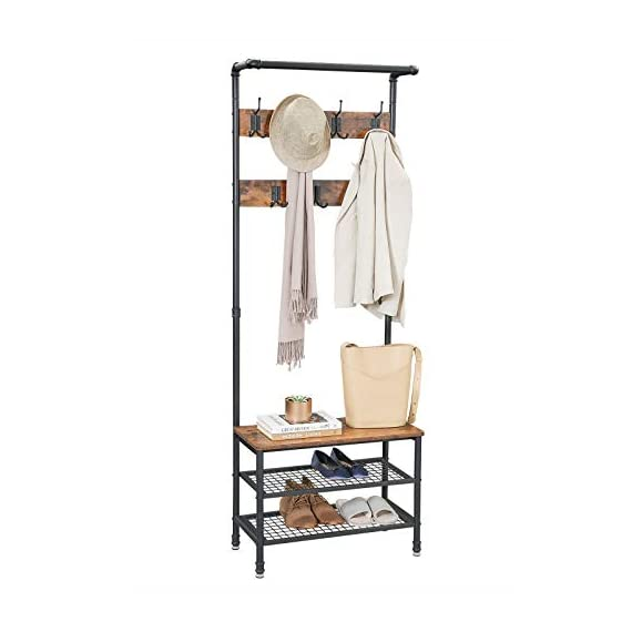 """VASAGLE URBENCE Hall Tree, Coat Rack Stand with Bench, Shoe Rack with 2 Mesh Shelves, Hallway, Living Room, Steel, Easy Assembly, Industrial Design, Rustic Brown UHSR37BX - OPPOSITES ATTRACT: Steel and engineered wood, rustic and industrial design, coat stand and shoe rack—this 26""""L x 12.8""""W x 72""""H hall tree is full of contrasts and yet ultimately forms a perfect unit STABILITY AT ITS BEST: We all know those wobbly coat racks that collapse when a coat is hung up. Thanks to the sturdy steel tubes, this coat rack always stands like a rock EVERYTHING ON THE HOOK: Your appointment starts in 20 minutes! It's a good thing that your jacket is hanging on one of the 7 hooks of this coat rack and your sneakers are standing on one of the two mesh shelves. Sit on the bench and quickly put on your shoes! - hall-trees, entryway-furniture-decor, entryway-laundry-room - 41UHiPt1vpL. SS570  -"""